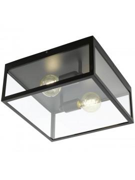 Plafoniera vintage 2 luci nera con vetro GLO 49392 Charterhouse