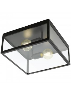 Vintage 2 lights black ceiling lamp with GLO glass 49392 Charterhouse