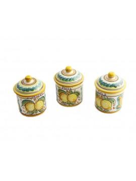 Tris 3 barattoli zucchero caffè sale in ceramica siciliana art.8 dec. Limoni