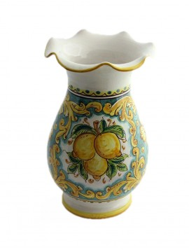 Vase worked in Sicilian ceramic art.16 dec. lemons
