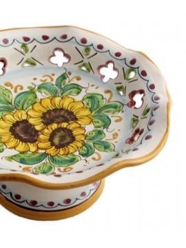 Centrotavola alzata piccola in ceramica siciliana art.5 dec. Girasole