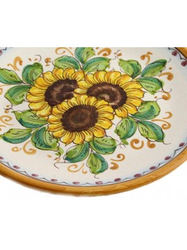 Piatto in ceramica siciliana art.13 dec. Girasole