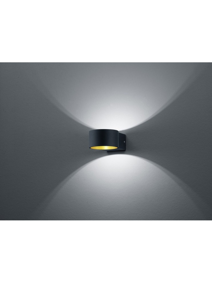 Applique a led 4,5w nero oro design moderno biemissione trio 223410132 Lacapo