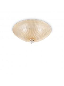 Plafoniera classica in vetro 4 luci Shell ambra