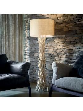 Rustic floor lamp in wood 1 light Driftwood beige