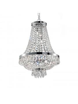 Lampadario in cristallo moderno 6 luci Caesar cromo