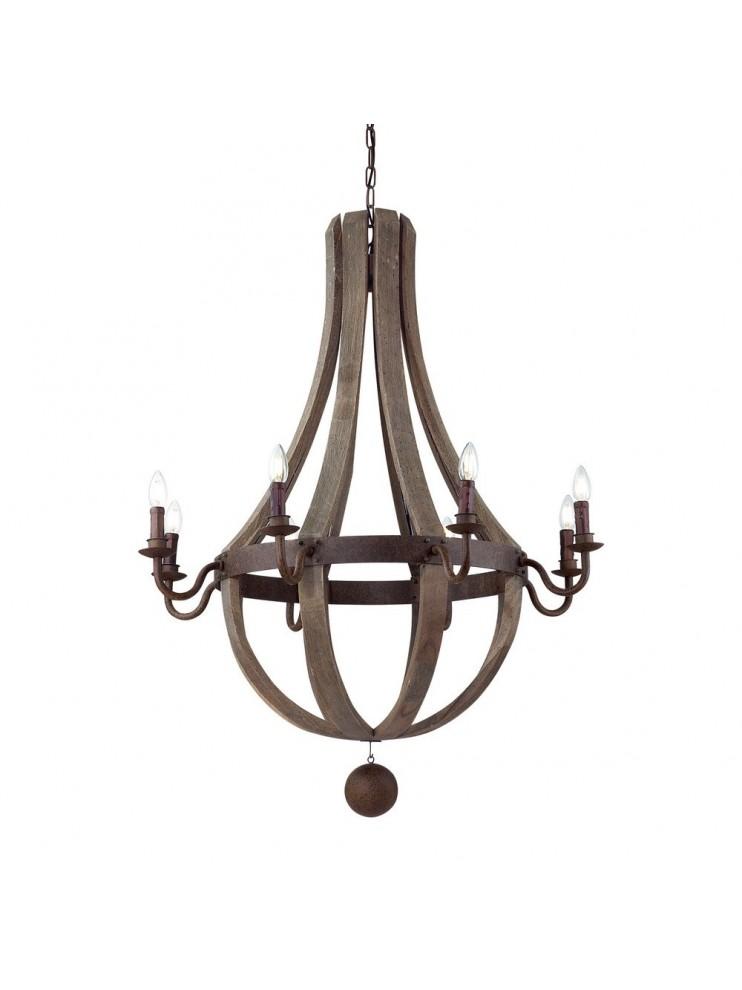 Rustic wooden chandelier 8 lights Millennium