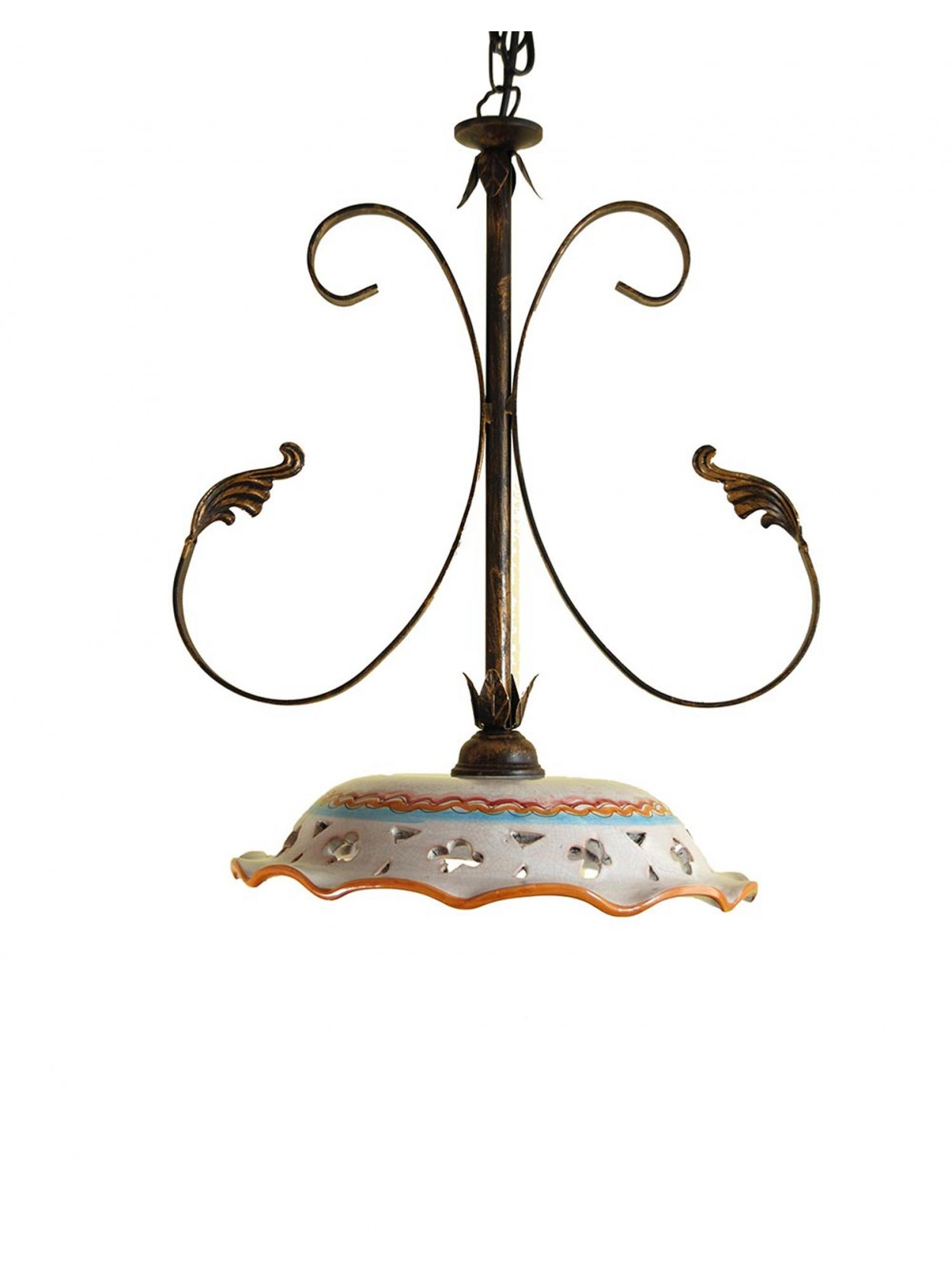 Lampadario Rustico In Ceramica Siciliana 1 Luce Girasole