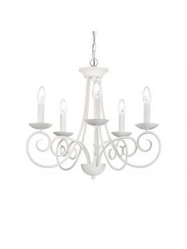 Modern 5 lights white chandelier in wrought iron Sem