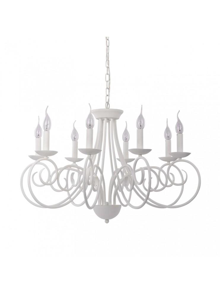 Lampadario moderno a 8 luci bianco in ferro battuto Sem