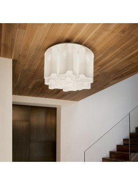 Modern white glass ceiling light 6 lights Compo
