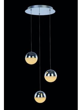 14.4w chromed led chandelier with Atomo illuminated crystals