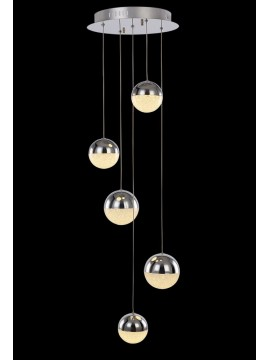 24w chromed LED chandelier with Atomo illuminated crystals