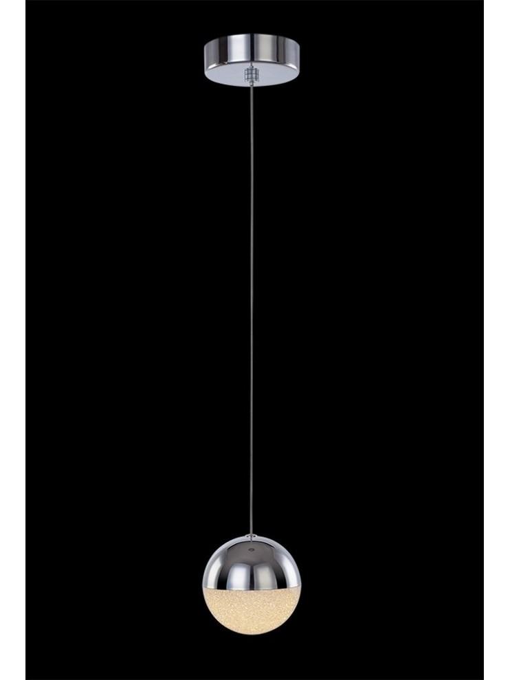 Sospensione a led 4,8w cromata con cristalli illuminati Atomo