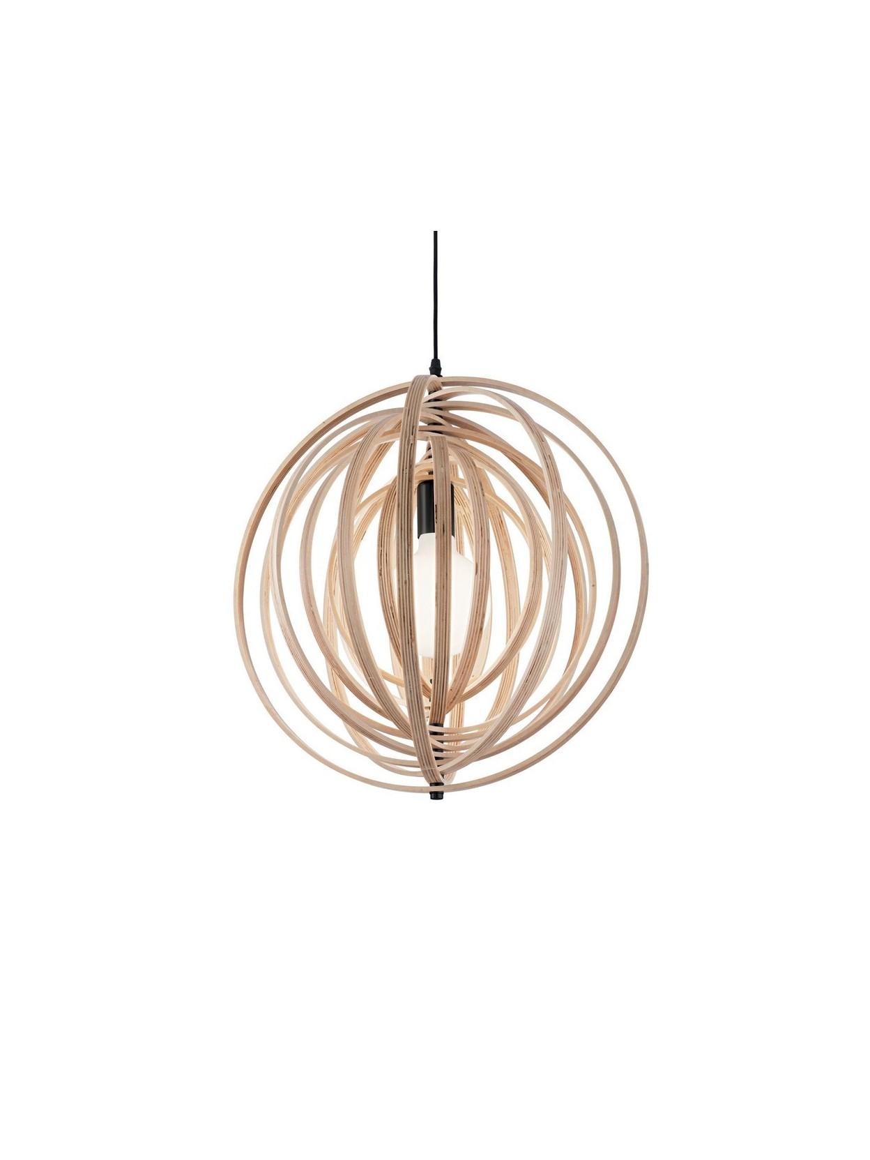Lampadario moderno circolare 1 luce disco legno for Lampadario legno moderno