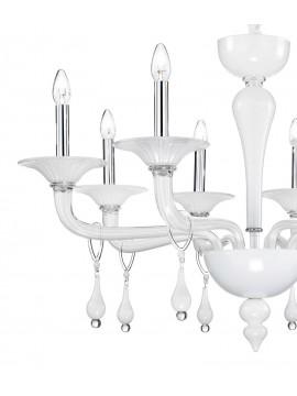 Modern Murano white Miramare 8 light chandelier