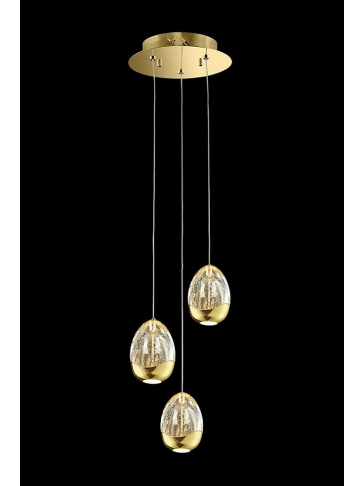 Gold design 14.4w chandelier with Golden Egg illuminated crystals