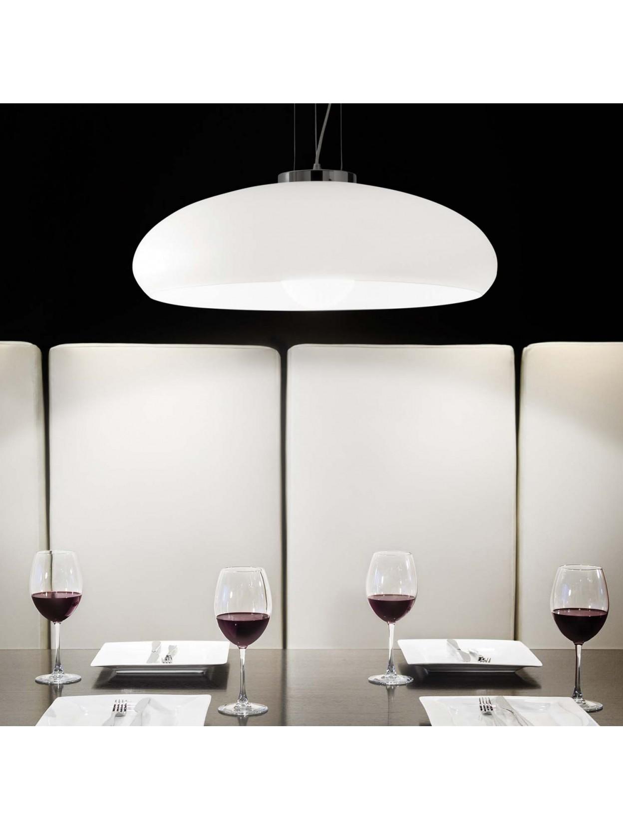 Lampade Da Tavolo Moderne Acciaio : Lampadario moderno in vetro bianco luce d aria