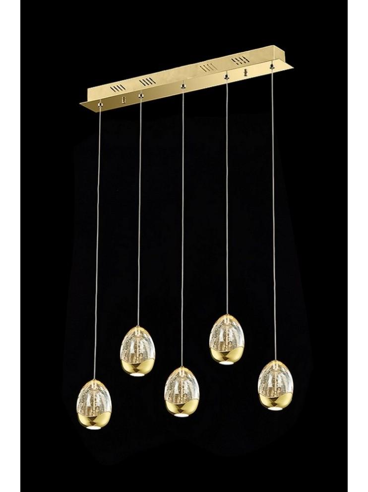 Lampadario led 24w design oro con cristalli illuminati Golden Egg