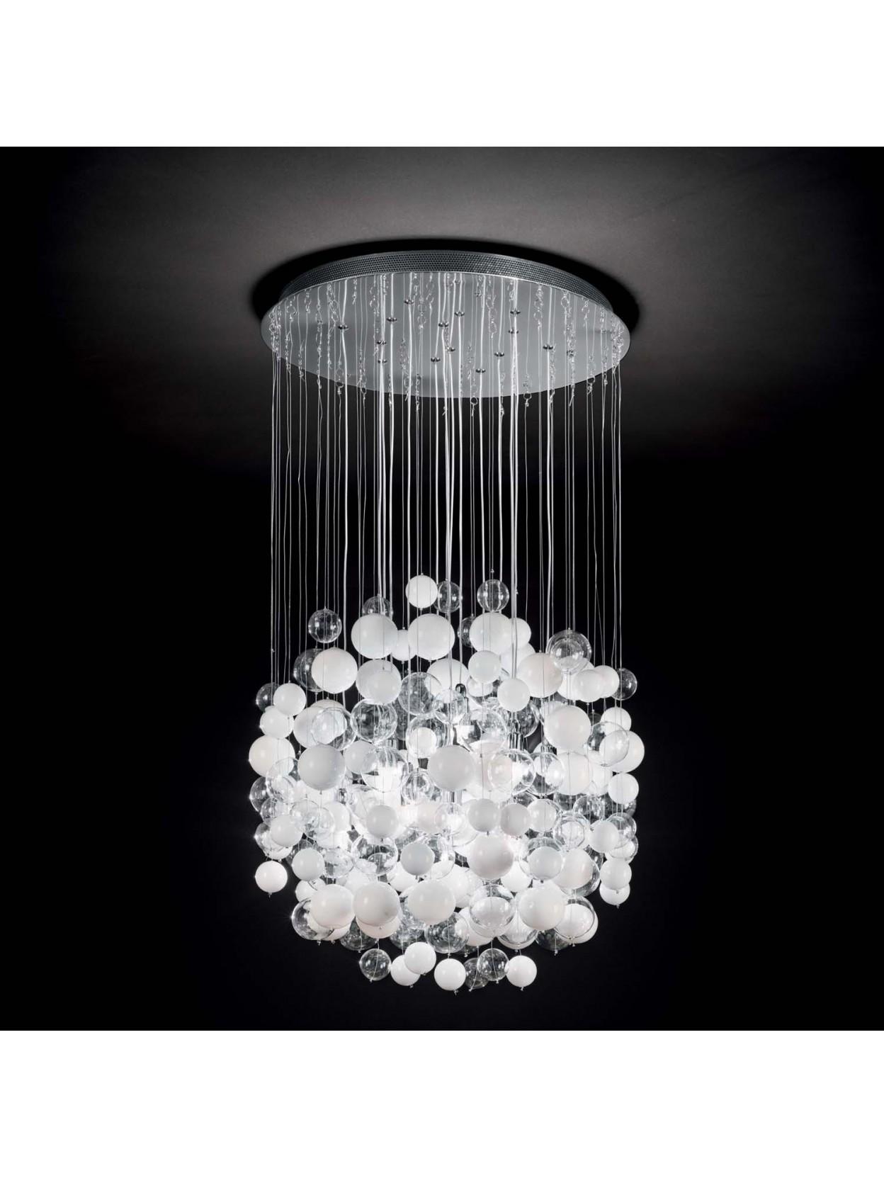 Lampadario moderno 14 luci con bolle di vetro bollicine bianco for Lampadario vetro murano moderni