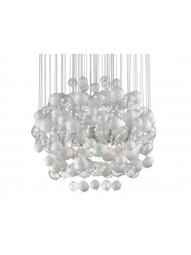 Modern chandelier 14 lights with glass bubbles White bubbles