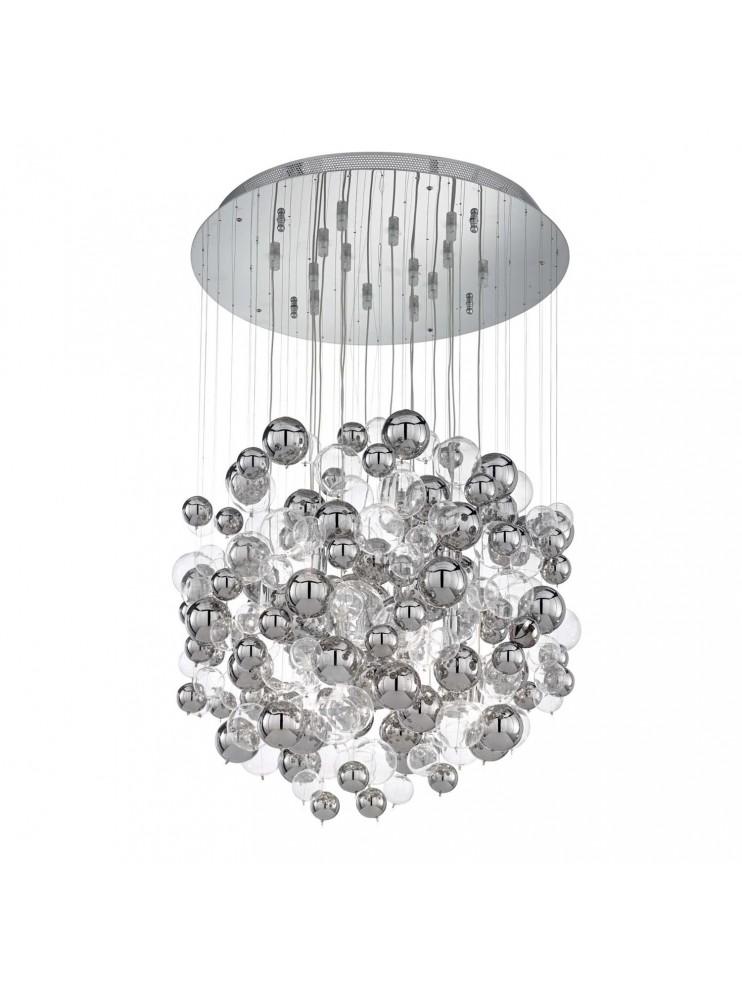 Lampadario moderno 14 luci con bolle di vetro Bollicine cromo