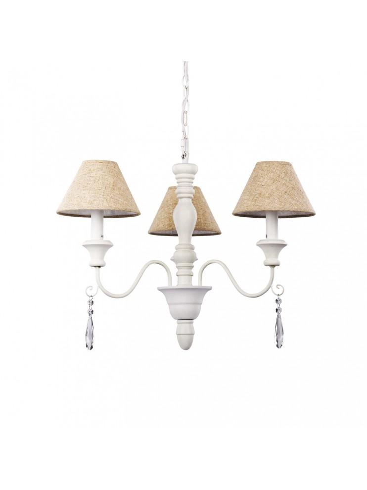 Lampadario contemporaneo 3 luci con paralumi Provence bianco