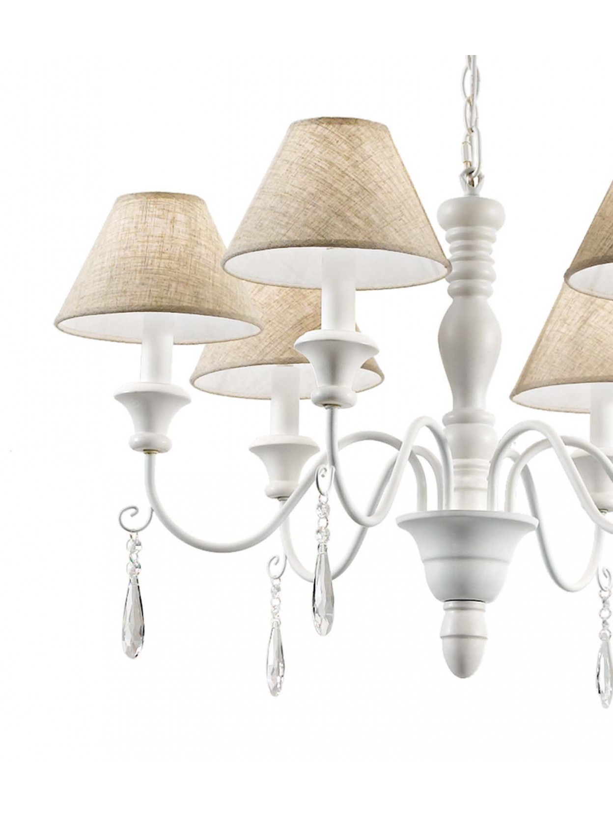 Lampadario contemporaneo 6 luci con paralumi provence bianco for Lampadario contemporaneo
