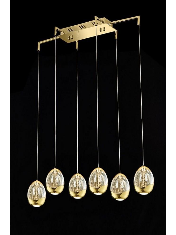 Lampadario led 28,8w oro con cristalli illuminati Golden Egg