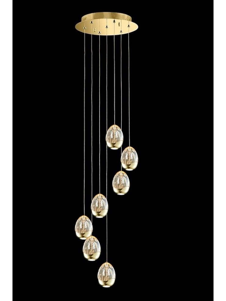 Lampadario led 33,6w design oro con cristalli illuminati Golden Egg