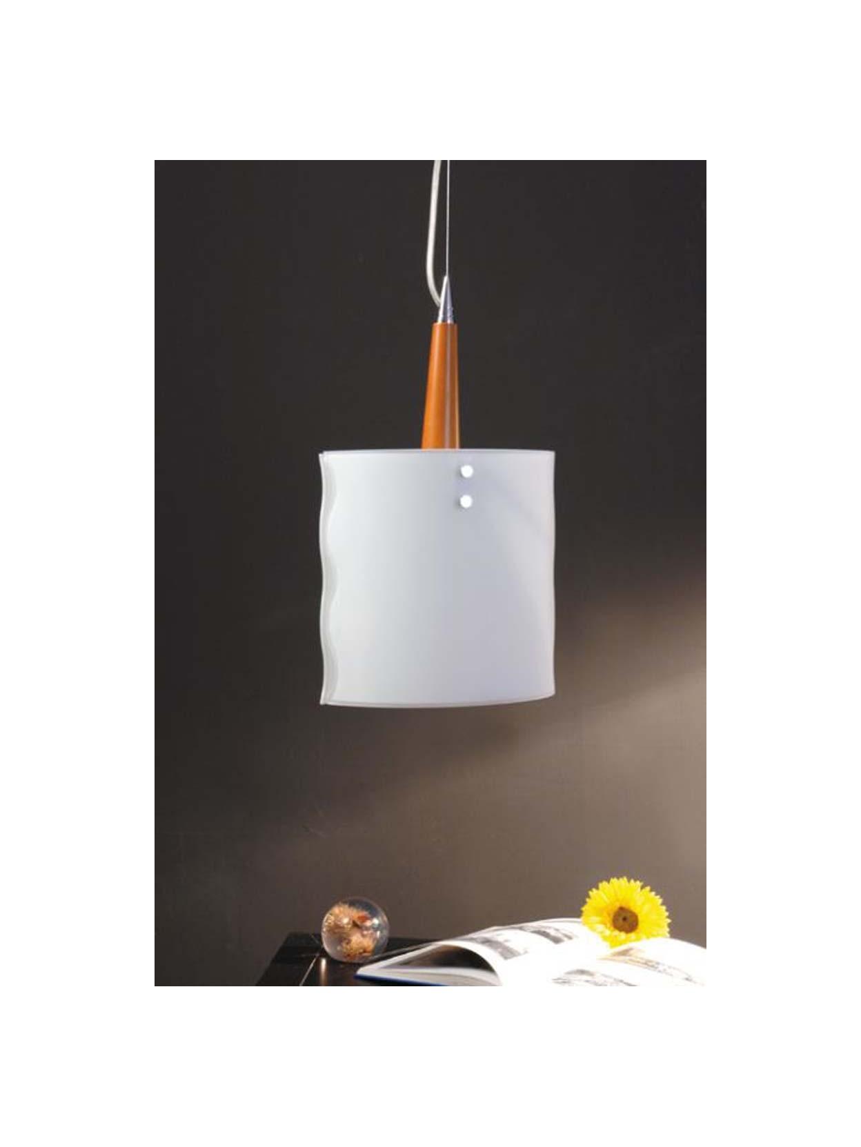 Lampadario moderno 1 luce legno ciliegio nov479sm for Lampadario legno moderno