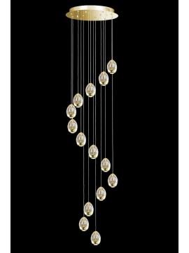 Lampadario led 67,2w oro con cristalli illuminati Golden Egg