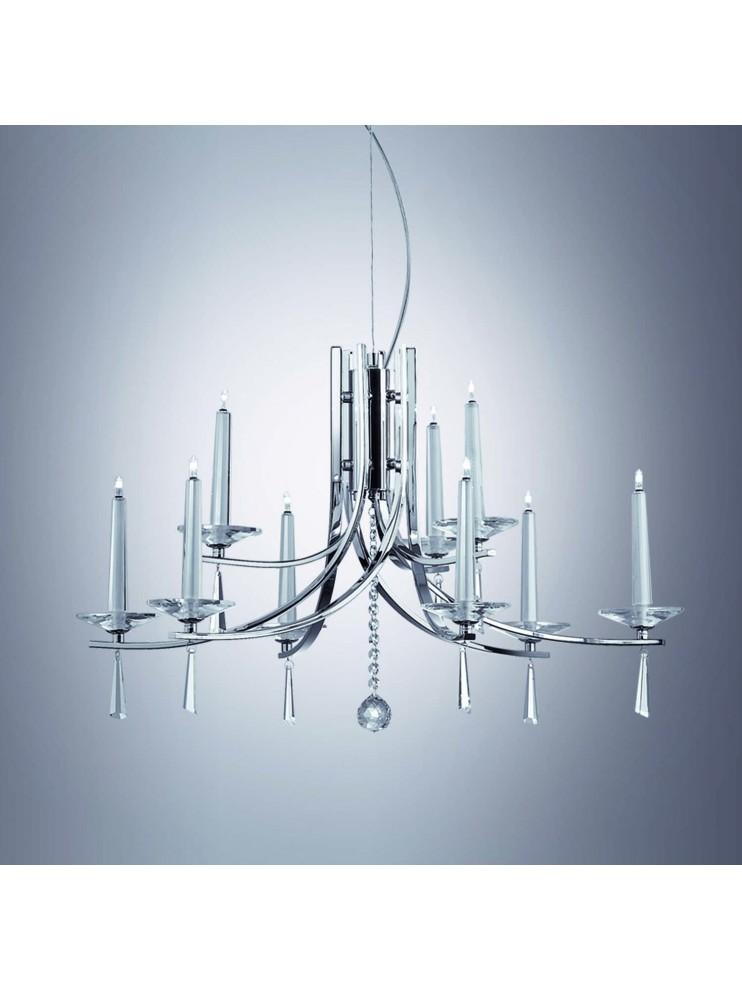 Lampadario moderno 12 luci cristallo Candle cromo