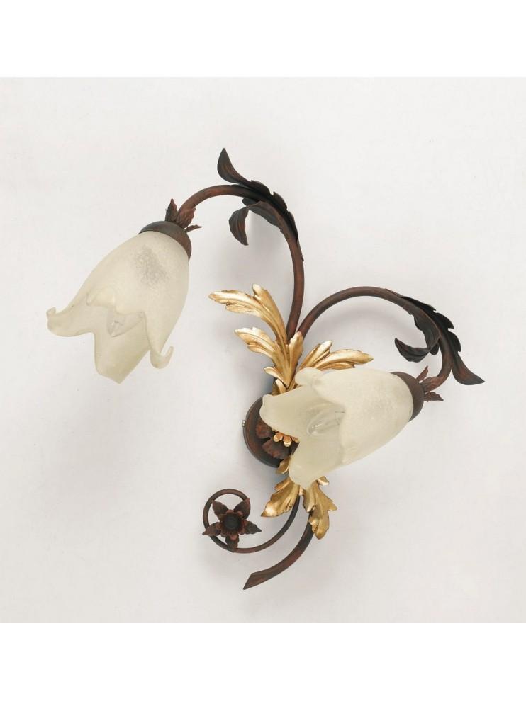 Applique 2 luci ferro battuto murano ruggine-oro art. ap120/2