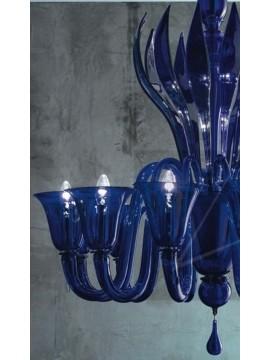 Murano chandelier 12 lights Voltolina Rialto blue