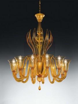 Murano chandelier 12 lights Voltolina Rialto gold