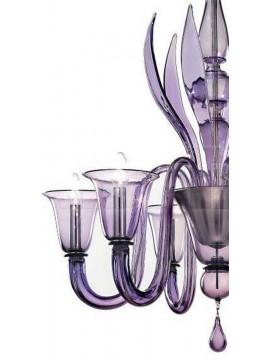 Murano chandelier 6 lights Voltolina Rialto purple