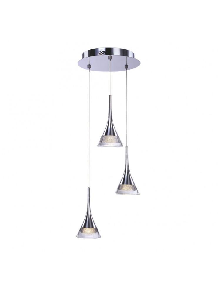Illuminated 18w modern chrome chandelier with jewel
