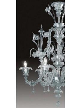 Lampadario murano cristallo 6 luci Voltolina Ca' Rezzonico elegante