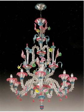 Lampadario murano 9 luci multicolor Voltolina Ca' Rezzonico