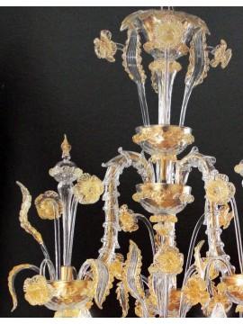 Lampadario murano 6 luci oro Voltolina Ca' Rezzonico