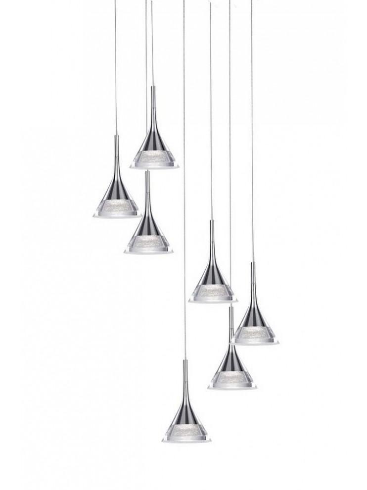 42w modern illuminated chrome chandelier with jewel