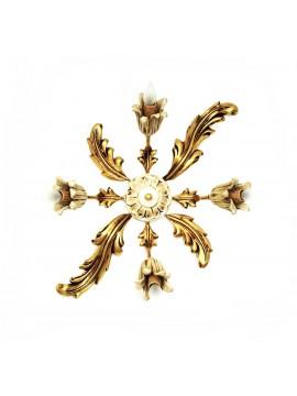Plafoniera classica in legno foglia oro e avorio 4 luci Dbs pla/04