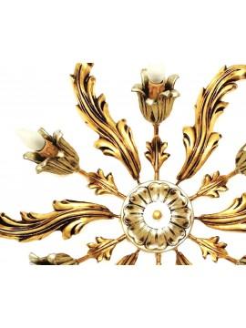 Plafoniera classica in legno foglia oro e argento 6 luci Dbs pla/06