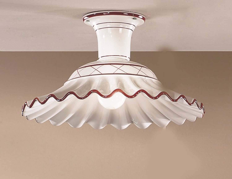Plafoniera Fiori Bianca : Plafoniera classica in ceramica 1 luce bianca marrone 2383 pl