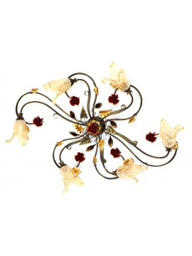 Classic wrought iron ceiling lamp 6 lights with red Rose gold leaf