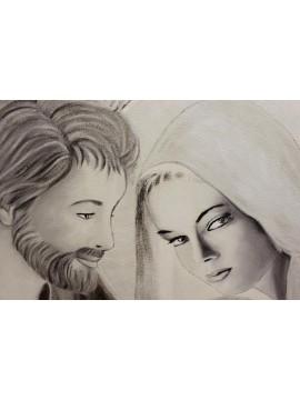 Capezzale quadro affresco moderno sacra famiglia 10519