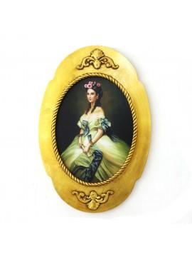 Quadro su tela con cornice in legno oro 40x60 ovale dama art. 4-368
