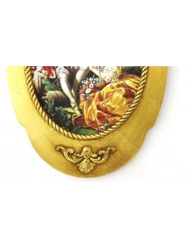 Quadro su tela con cornice in legno oro 40x60 ovale dama art. 8-368