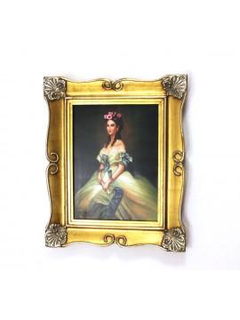 Quadro su tela cornice in legno oro 50x60 dame art. 4-008